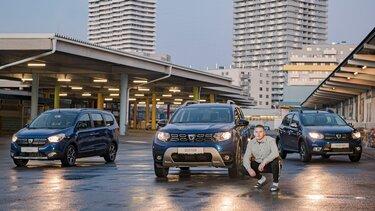 Slav mit Dacia Fahrzeugen