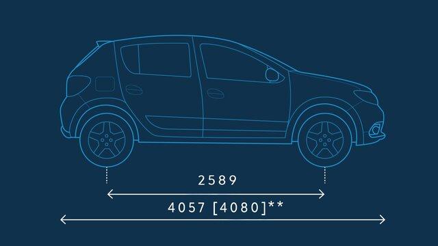 Dacia Sandero – Abmessungen seitlich