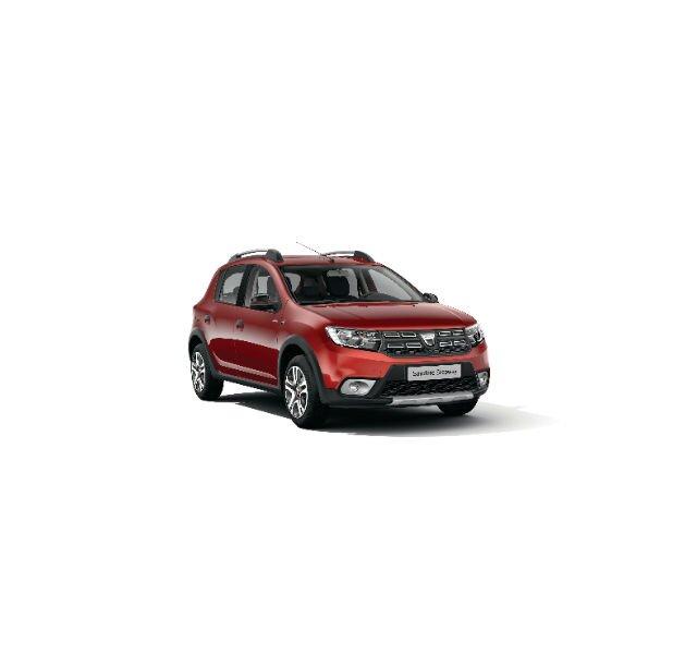 Dacia Sandero Stepway Xplore- Vista trasera de 3/4 - Color Rojo Fusión