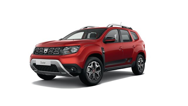 Dacia Duster HJD Techroad - Vista 3/4 anteriore dell'auto - Colore Rouge Fusion