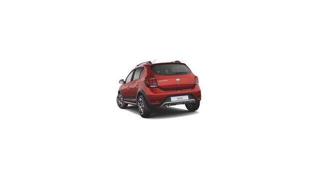 Dacia Sandero Stepway Techroad - Vista 3/4 posteriore dell'auto - Colore Rouge Fusion