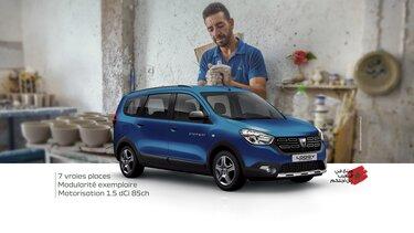 Dacia lodgy bleu 7 places pour commerçant