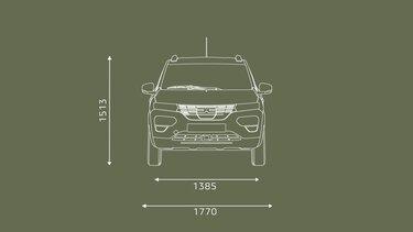 Nowa Dacia Spring wymiary od przodu