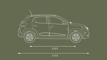 Nowa Dacia Spring wymiary z profilu