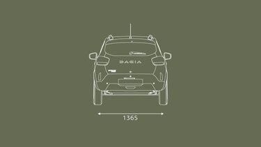 Nowa Dacia Spring wymiary od tyłu