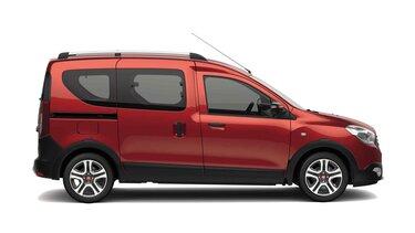 Limitovaná edícia Dacia Dokker Stepway Techroad vo farbe Red Fusion ‒ bočný pohľad na vozidlo