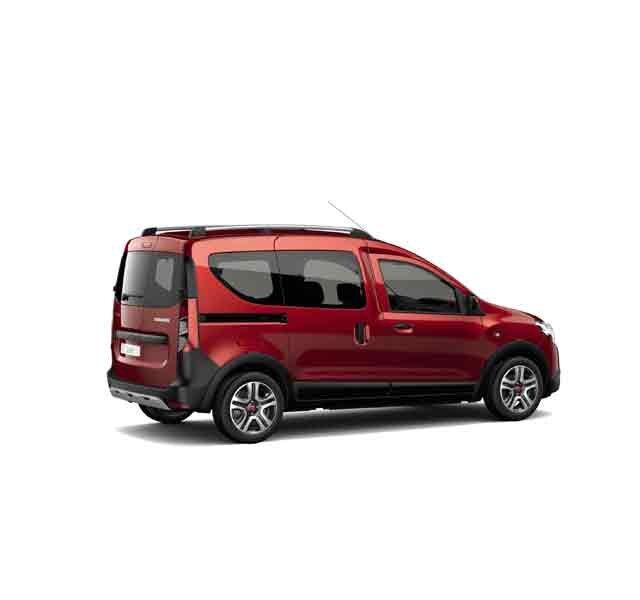 Dacia Dokker Stepway limited edition Techroad Red Fusion - 3/4 achteraanzicht van de auto