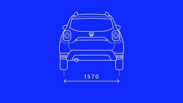 Afmetingen achterkant Dacia Duster SUV