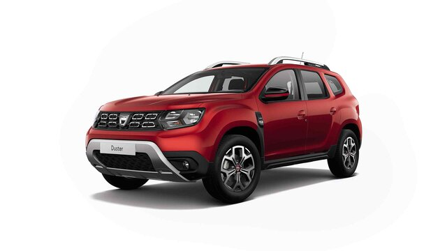 Dacia DUSTER HJD Red Line - 3/4 front view of the car - Red Fusion colour