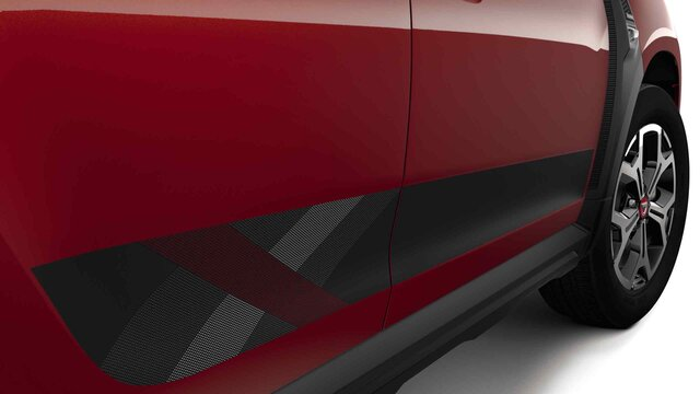 Dacia Duster HJD Techroad - Vista laterale dell'auto - Colore Rouge Fusion e stripping