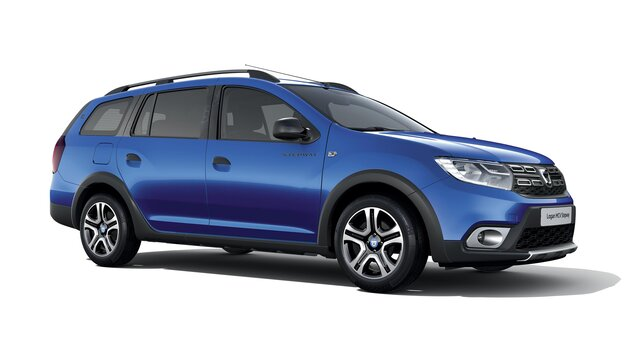 Vue 3/4 avant de Dacia Logan MCV Stepway Celebration