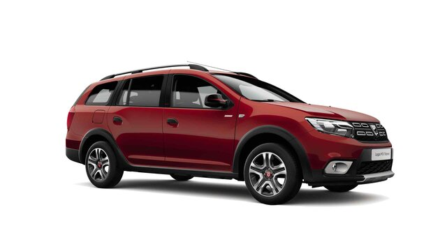 Dacia Logan MCV Stepway Techroad - Vista 3/4 anteriore dell'auto - Colore Rouge Fusion