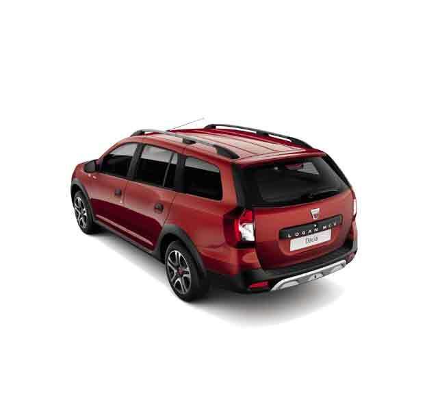 Dacia Logan MCV Stepway Techroad - Vista 3/4 posteriore dell'auto - Colore Rouge Fusion