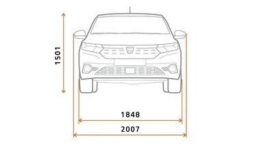 Új Dacia Logan méretek szemből