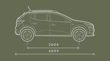 Sandero Steoway dimensions profil