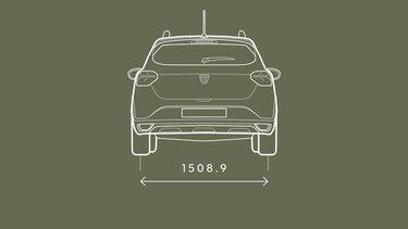 Sandero Stepway dimensioner bag på bilen