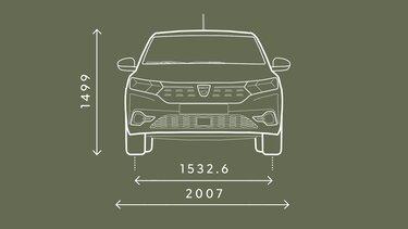 Přední rozměry vozu Sandero