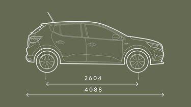 Boční rozměry vozu Sandero