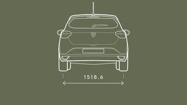 Sandero - afmetingen achterkant