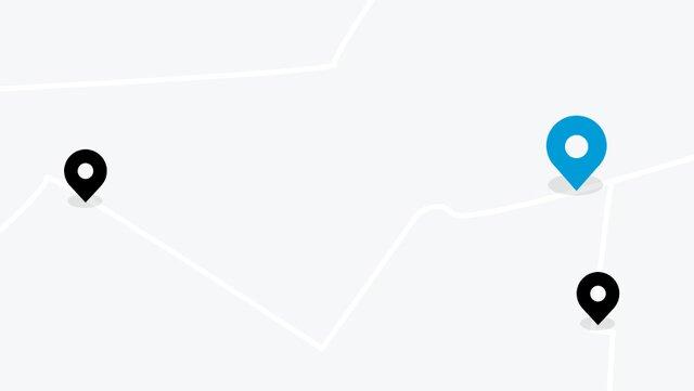 mapa z pinem w kolorze dacii