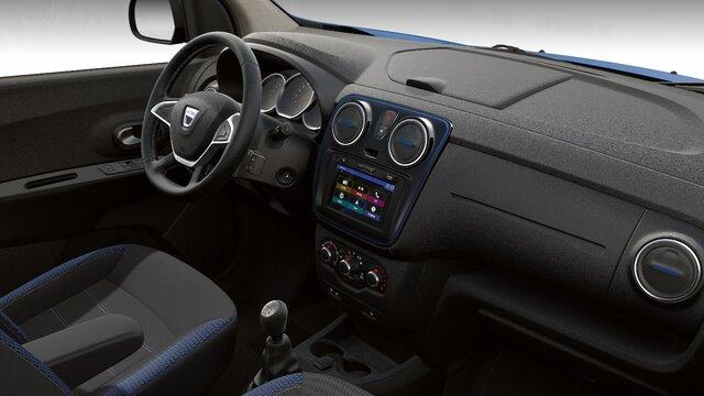 Dacia Lodgy Stepway seria limitowana Techroad Czerwony Fusion - Widok wnętrza samochodu i deski rozdzielczej