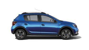 Dacia Sandero Stepway seria limitowana Techroad - Widok z boku samochodu - Kolor czerwony Fusion