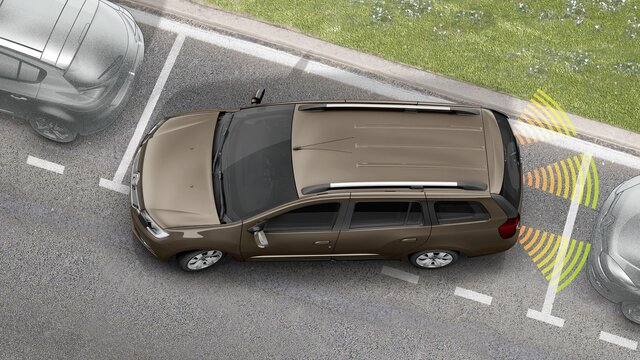 Logan MCV - Sistema de ajuda ao estacionamento traseiro e câmara de marcha-atrás