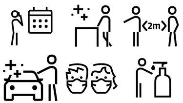 diverse icon-uri informatii generale covid 19 retelele dacia oameni cu masca calendar