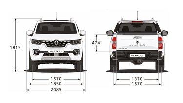 Renault ALASKAN - Dimensiones frontales