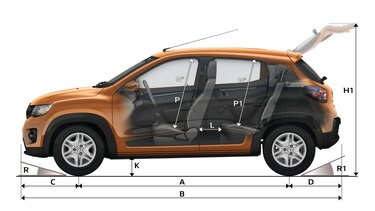 KWID - Dimensiones laterales