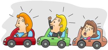 Zeichnung aufgeregte Fahrer