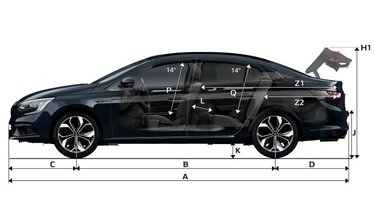Размери на MEGANE Sedan отпред