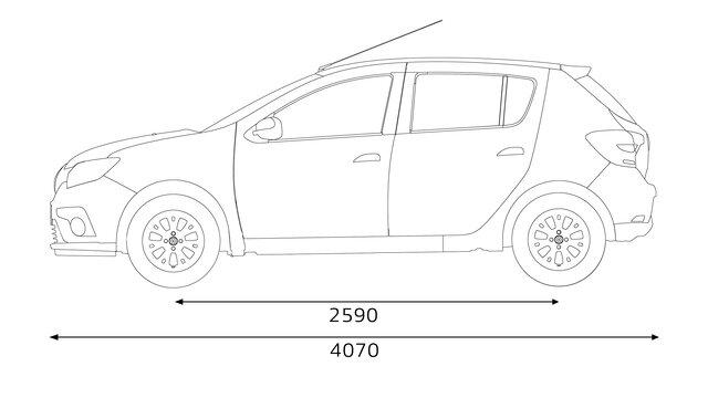 Renault SANDERO - dimensões da lateral