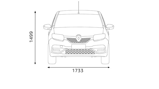 Renault SANDERO - dimensões da frente
