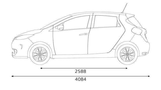 Dimensões dianteiras do Renault ZOE