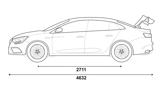 Boční rozměry vozu MEGANE Sedan