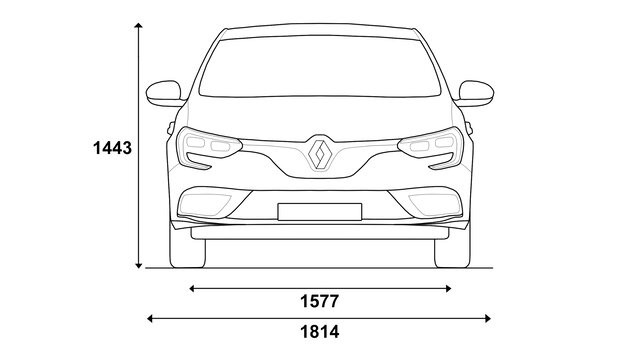 Přední rozměry vozu MEGANE Sedan