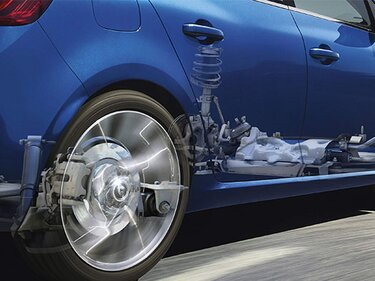 Dynamische Allradlenkung 4CONTROL an einem blauen Renault Fahrzeug sichtbar gemacht