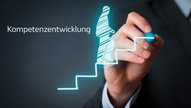 Hand mit Stift auf Chart zur Kompetenzentwicklung
