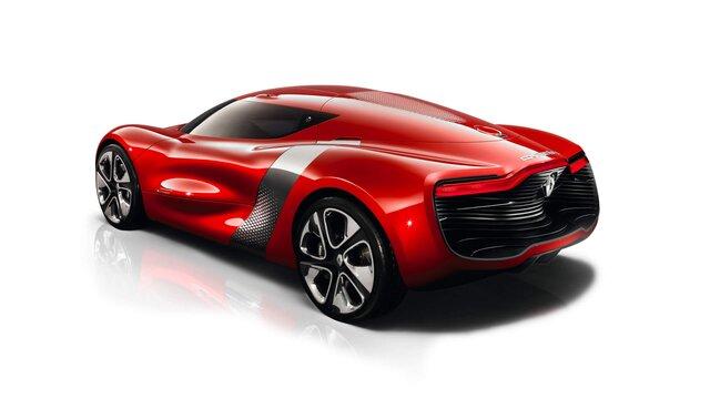 Roter Renault DEZIR Concept Car Heckansicht