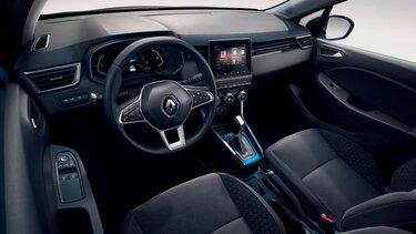Grafik der innovativen Sicherheitssystem im Renault Clio E-Tech Hybrid Business Edition