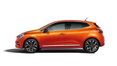 Renault Clio orangefarbenes Außendesign Profil