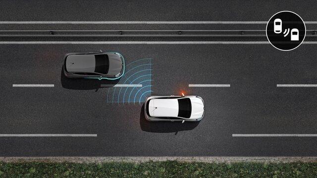 Grafik der innovativen Sicherheitssysteme von Renault - Fahrassistenzsystem