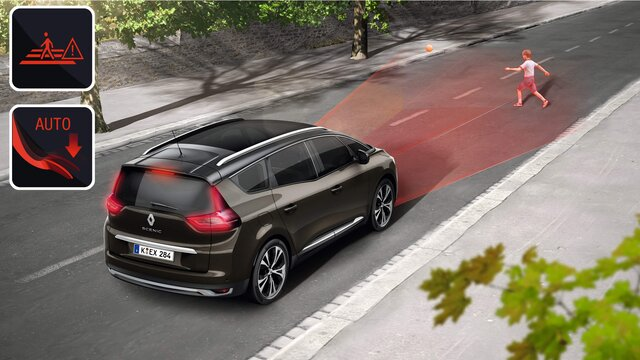 Die intelligenten Fahrerassistenzsysteme im Renault Grand Scénic -  Fußgängererkennung