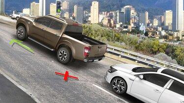 Renault Alaskan erkennt die Straßenneigung und hilft bei Anfahrt am Berg