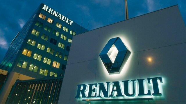 Renault Logo auf Tafel vor dem Hauptsitz