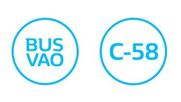 Etiqueta circulación en C-58 y en carril de BUS VAO