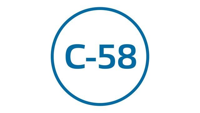 Etiqueta libre circulación por la C-58