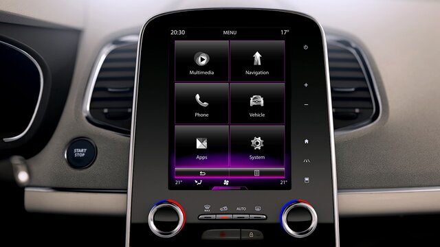 Renault e-guide - Console R-LINK 2 verticale