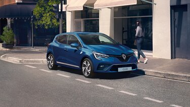 CLIO small car blue exterior
